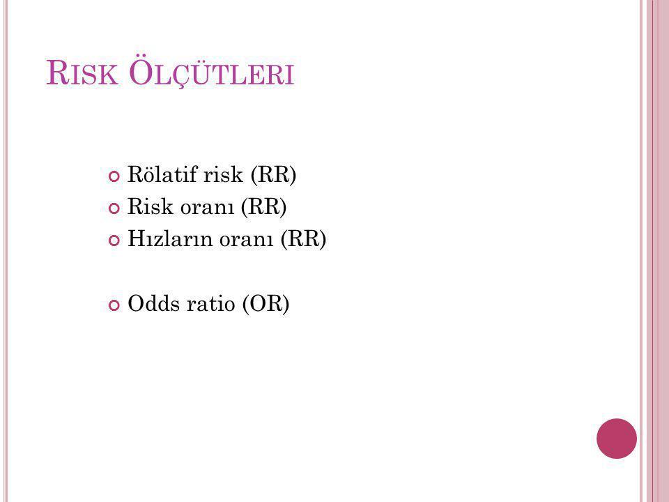 Risk Ölçütleri Rölatif risk (RR) Risk oranı (RR) Hızların oranı (RR)