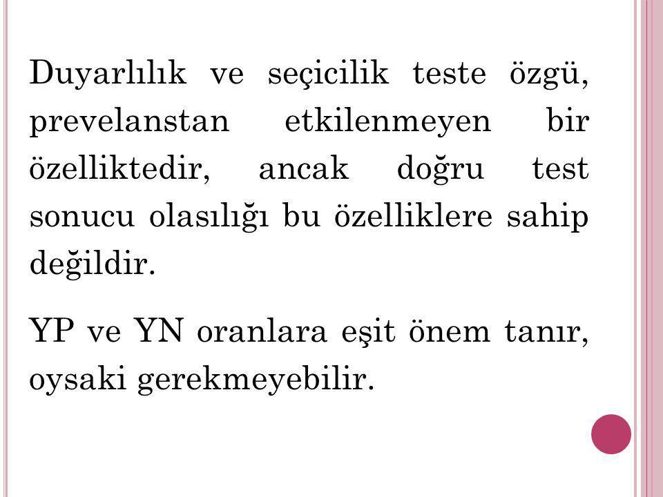 Duyarlılık ve seçicilik teste özgü, prevelanstan etkilenmeyen bir özelliktedir, ancak doğru test sonucu olasılığı bu özelliklere sahip değildir.