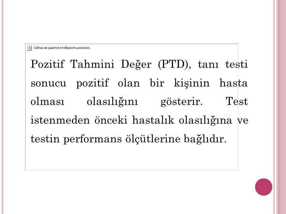 Pozitif Tahmini Değer (PTD), tanı testi sonucu pozitif olan bir kişinin hasta olması olasılığını gösterir.