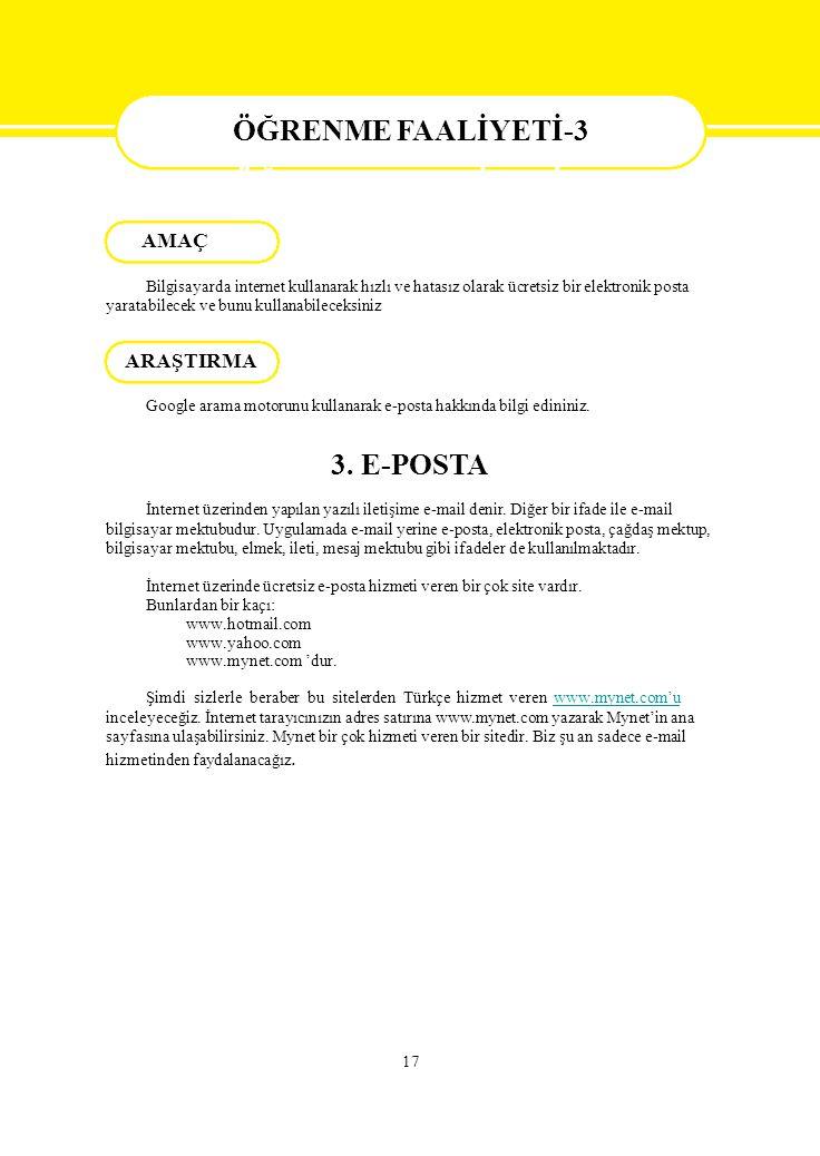 ÖĞRENME FAALİYETİ-3 3. E-POSTA