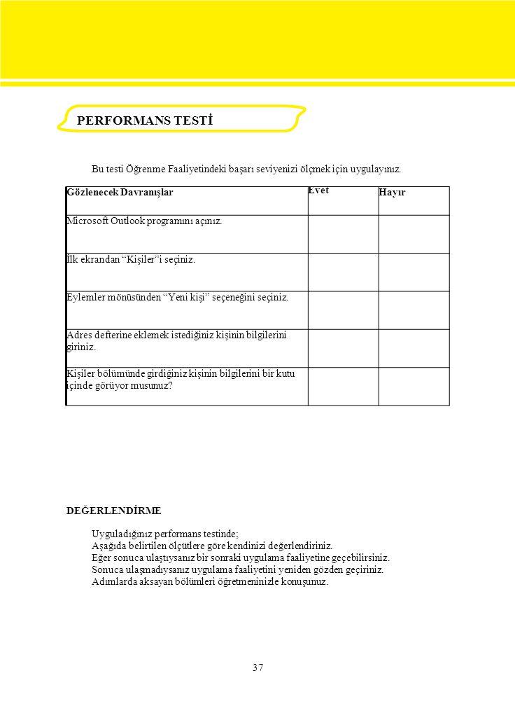 PERFORMANS TESTİ Bu testi Öğrenme Faaliyetindeki başarı seviyenizi ölçmek için uygulayınız. Gözlenecek Davranışlar.