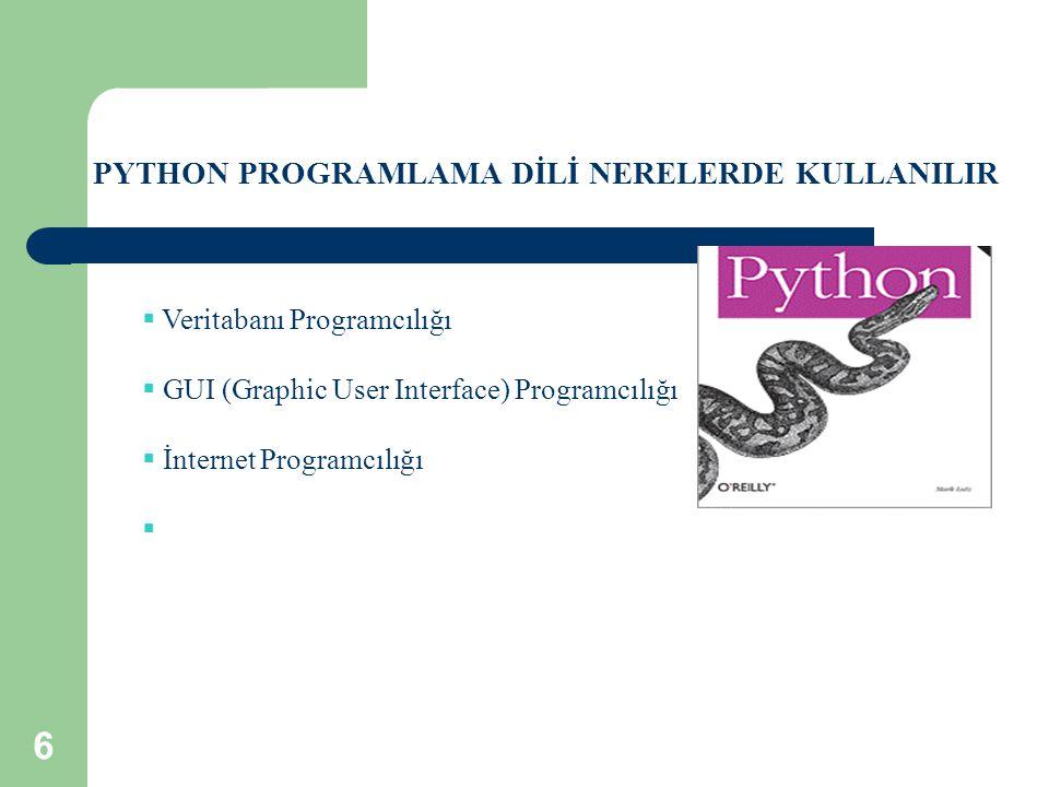 PYTHON PROGRAMLAMA DİLİ NERELERDE KULLANILIR