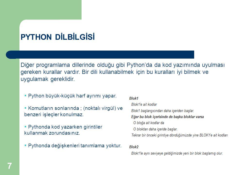 PYTHON DİLBİLGİSİ