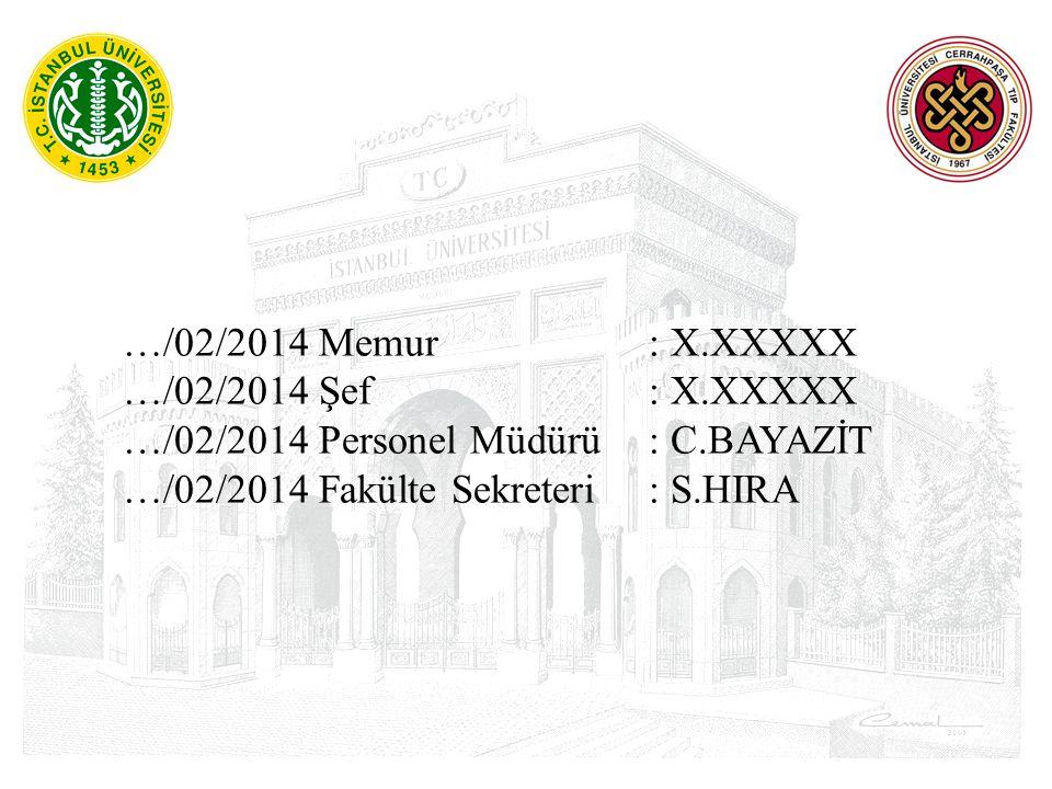 …/02/2014 Memur : X.XXXXX …/02/2014 Şef : X.XXXXX. …/02/2014 Personel Müdürü : C.BAYAZİT.