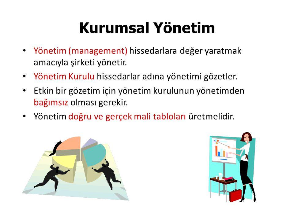 Kurumsal Yönetim Yönetim (management) hissedarlara değer yaratmak amacıyla şirketi yönetir. Yönetim Kurulu hissedarlar adına yönetimi gözetler.