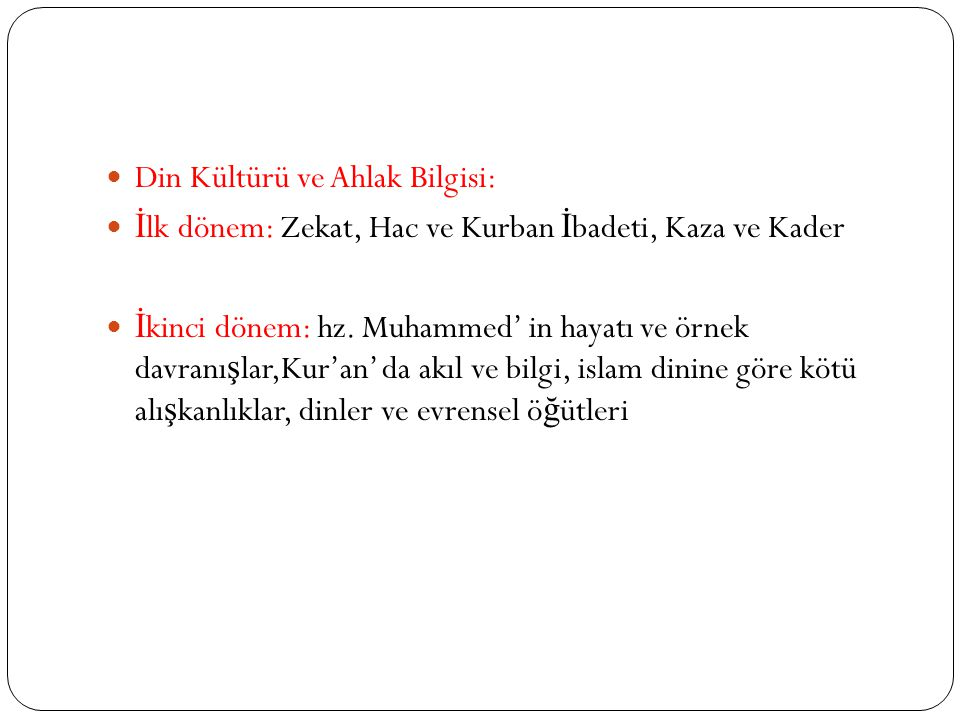 Din Kültürü ve Ahlak Bilgisi: