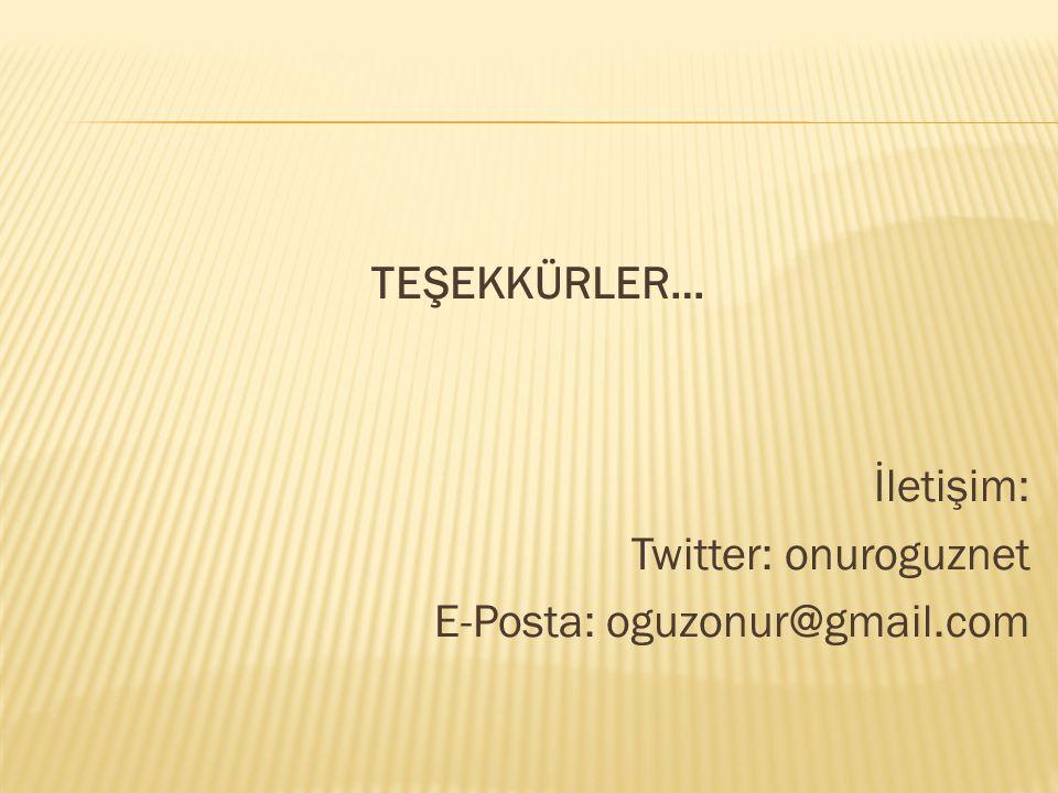 TEŞEKKÜRLER… İletişim: Twitter: onuroguznet E-Posta: oguzonur@gmail