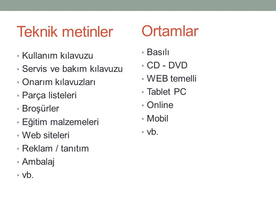 Teknik metinler Ortamlar Basılı Kullanım kılavuzu CD - DVD