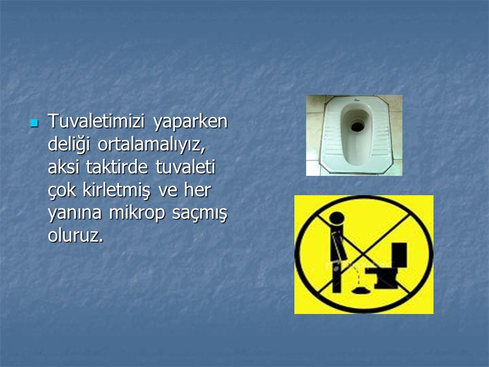 Tuvaletimizi yaparken deliği ortalamalıyız, aksi taktirde tuvaleti çok kirletmiş ve her yanına mikrop saçmış oluruz.