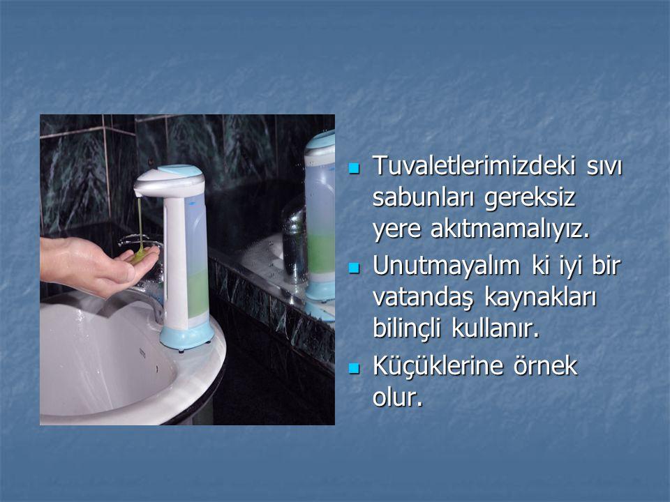 Tuvaletlerimizdeki sıvı sabunları gereksiz yere akıtmamalıyız.