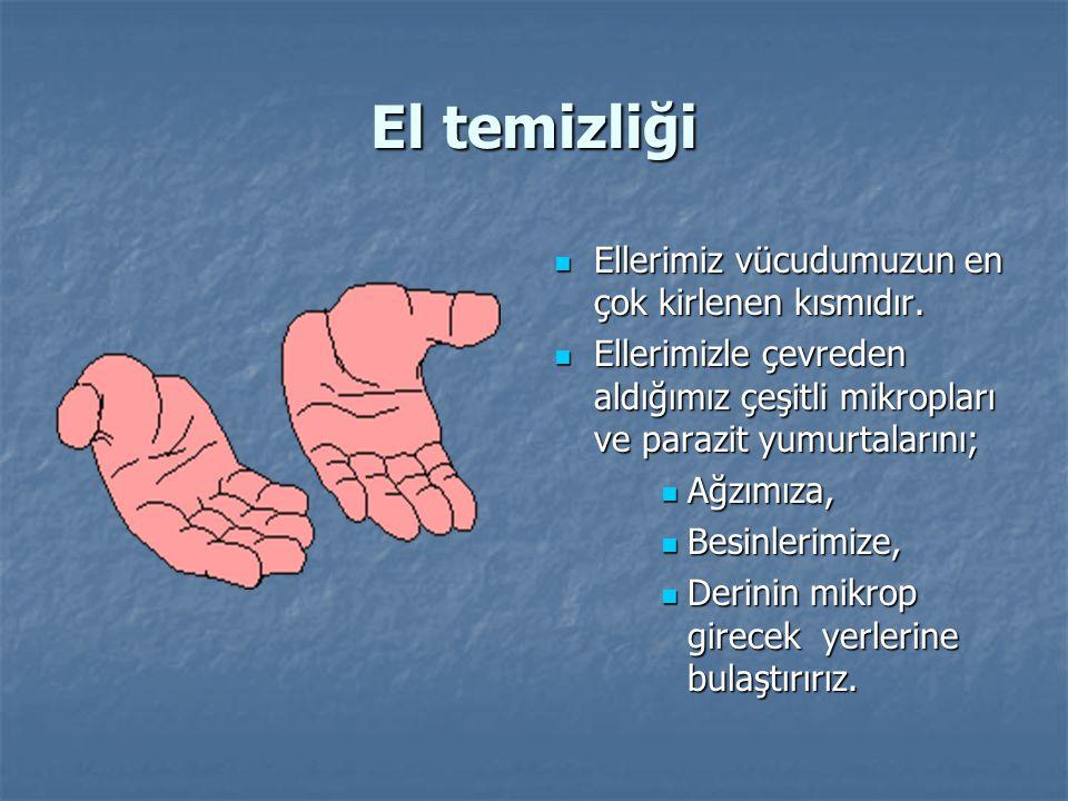 El temizliği Ellerimiz vücudumuzun en çok kirlenen kısmıdır.