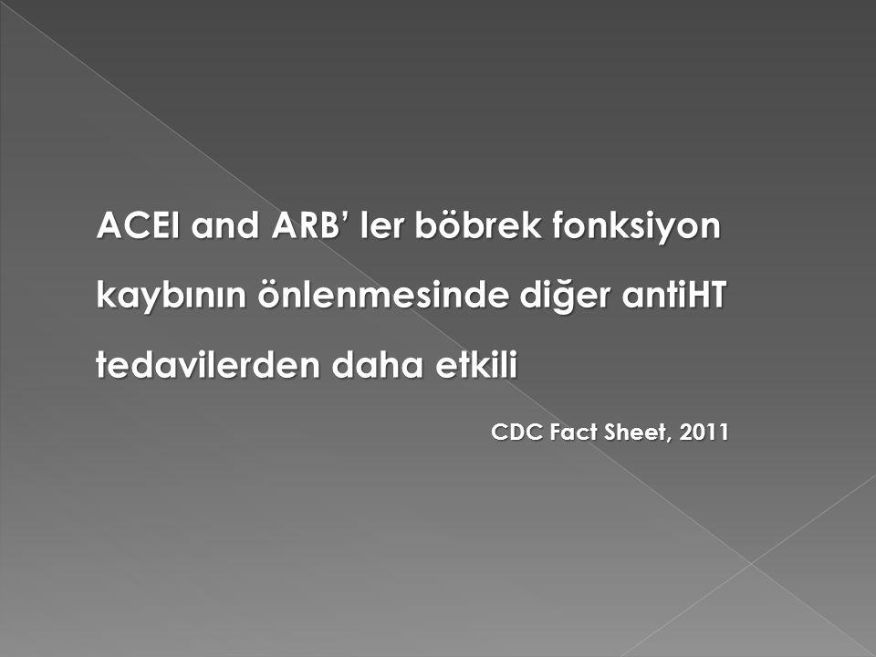 ACEI and ARB' ler böbrek fonksiyon kaybının önlenmesinde diğer antiHT tedavilerden daha etkili