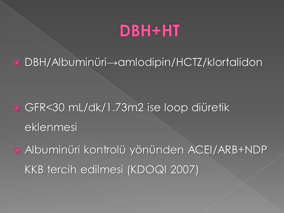 DBH+HT DBH/Albuminüri→amlodipin/HCTZ/klortalidon