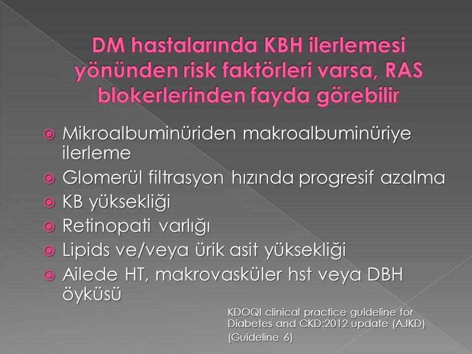 DM hastalarında KBH ilerlemesi yönünden risk faktörleri varsa, RAS blokerlerinden fayda görebilir