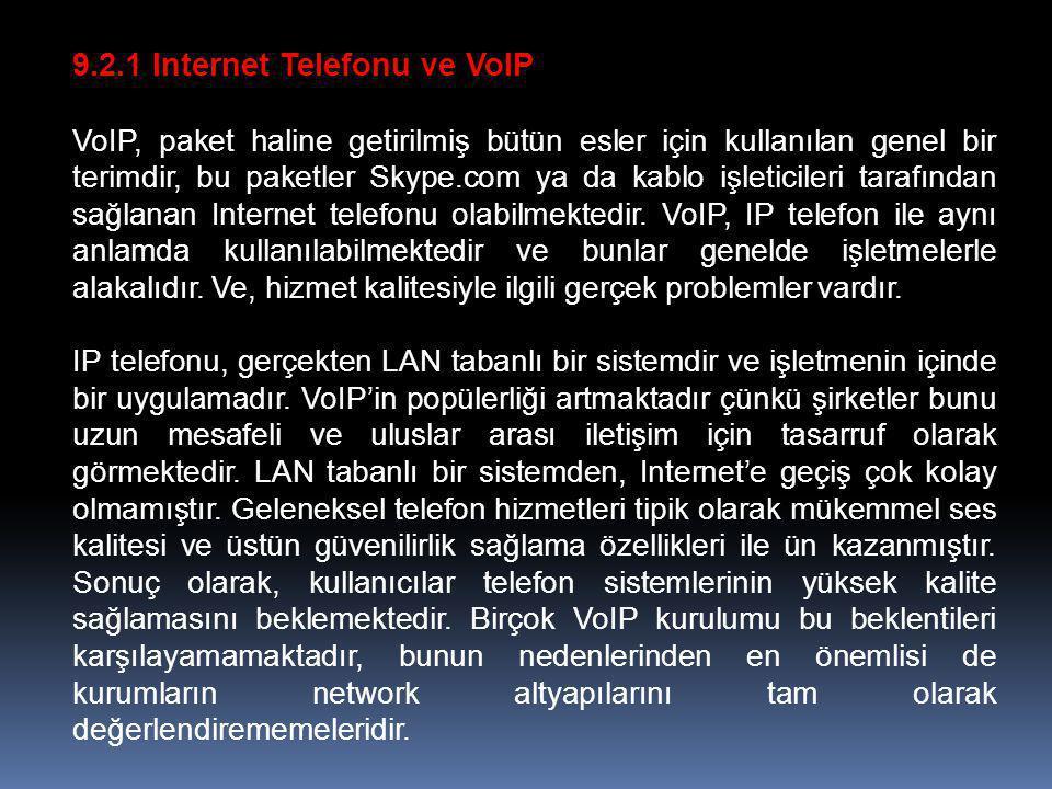 9.2.1 Internet Telefonu ve VoIP