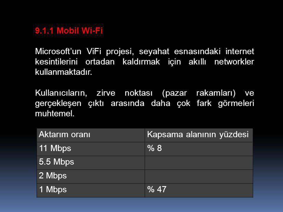 9.1.1 Mobil Wi-Fi Microsoft'un ViFi projesi, seyahat esnasındaki internet kesintilerini ortadan kaldırmak için akıllı networkler kullanmaktadır.