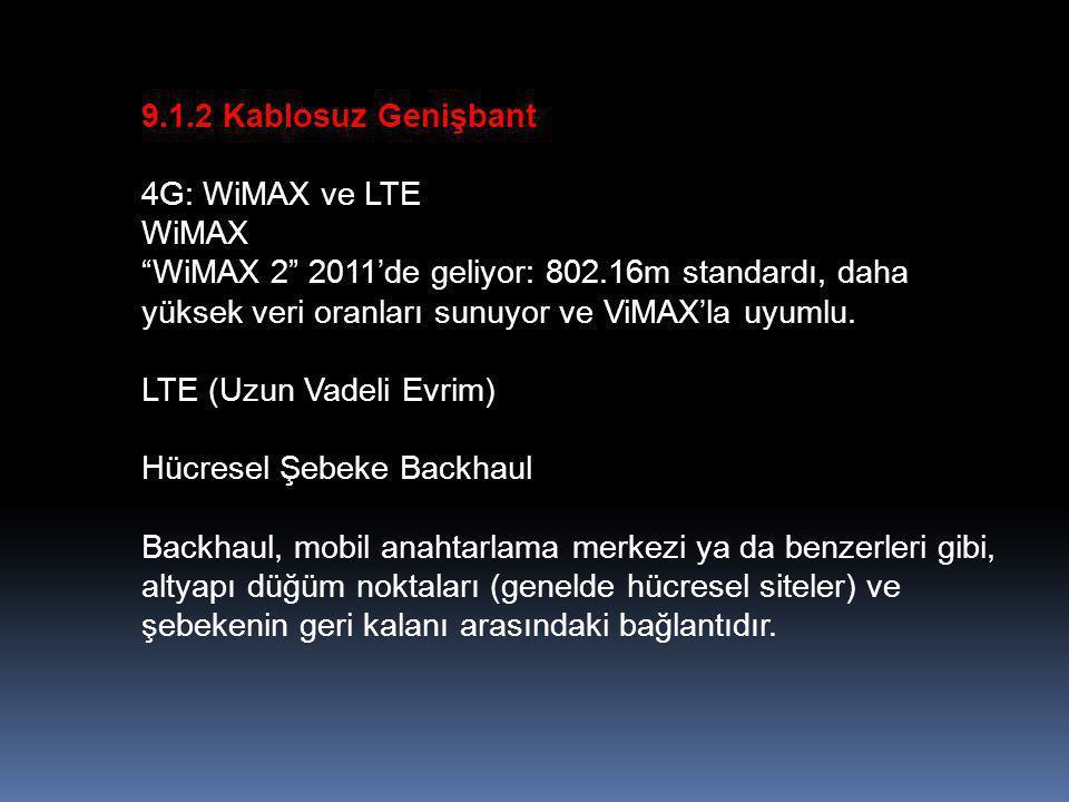 9.1.2 Kablosuz Genişbant 4G: WiMAX ve LTE. WiMAX.