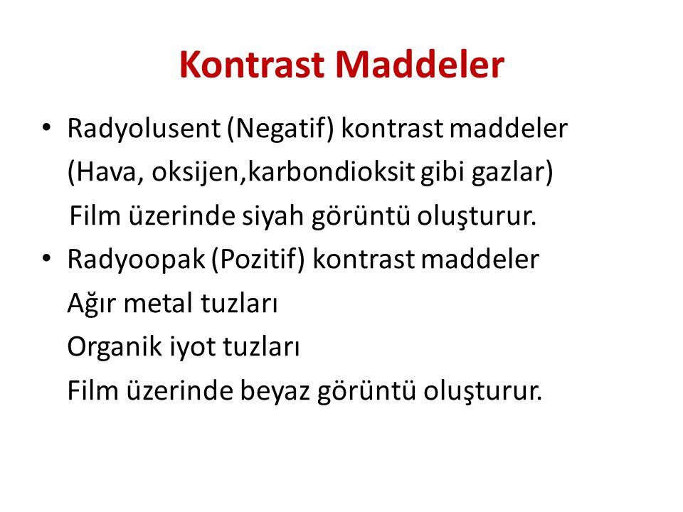 Kontrast Maddeler Radyolusent (Negatif) kontrast maddeler