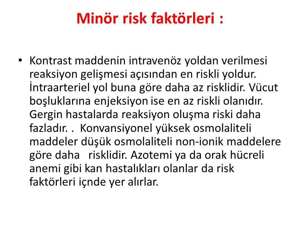 Minör risk faktörleri :