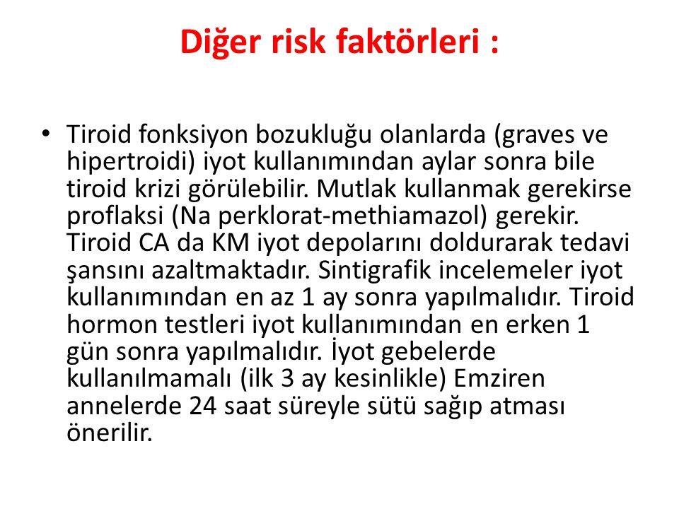 Diğer risk faktörleri :