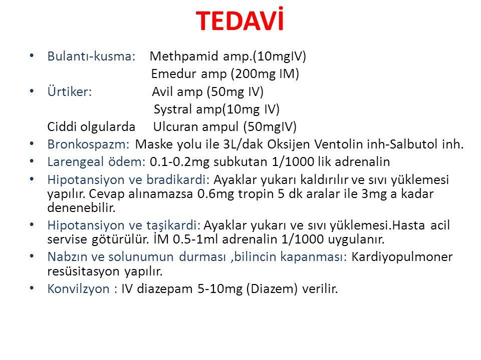 TEDAVİ Bulantı-kusma: Methpamid amp.(10mgIV) Emedur amp (200mg IM)