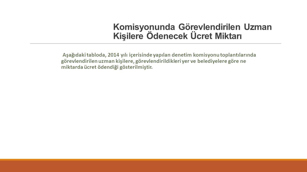 Komisyonunda Görevlendirilen Uzman Kişilere Ödenecek Ücret Miktarı