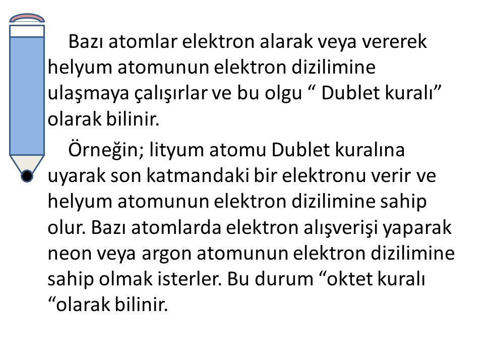 Bazı atomlar elektron alarak veya vererek helyum atomunun elektron dizilimine ulaşmaya çalışırlar ve bu olgu Dublet kuralı olarak bilinir.