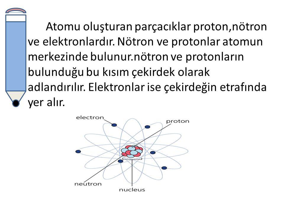 Atomu oluşturan parçacıklar proton,nötron ve elektronlardır