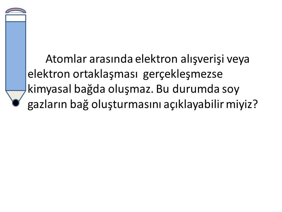 Atomlar arasında elektron alışverişi veya elektron ortaklaşması gerçekleşmezse kimyasal bağda oluşmaz.