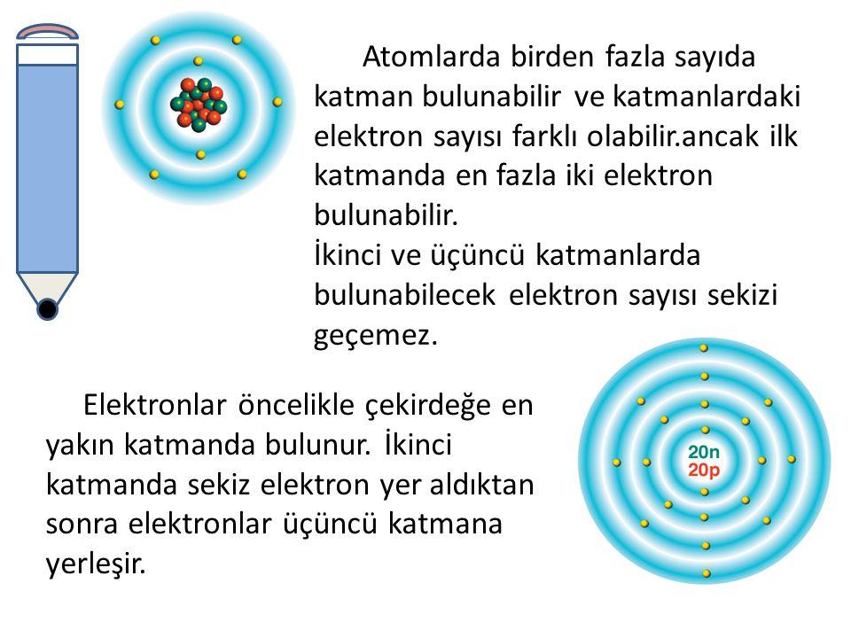 Atomlarda birden fazla sayıda katman bulunabilir ve katmanlardaki elektron sayısı farklı olabilir.ancak ilk katmanda en fazla iki elektron bulunabilir.