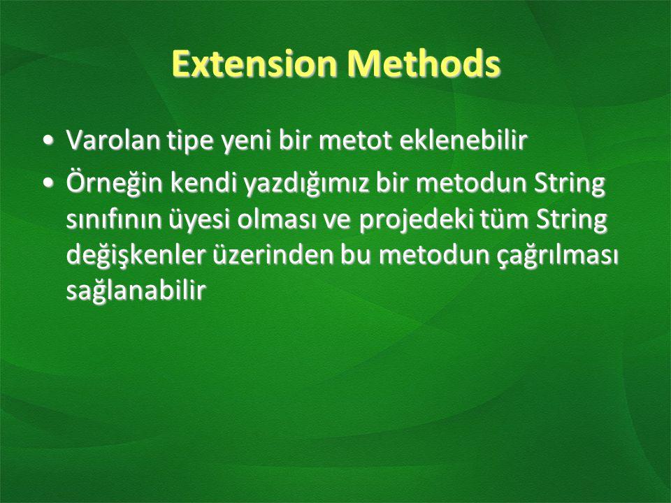 Extension Methods Varolan tipe yeni bir metot eklenebilir