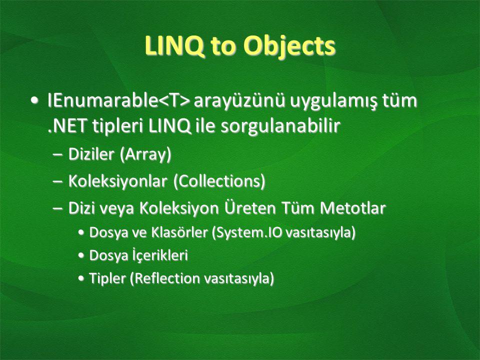 LINQ to Objects IEnumarable<T> arayüzünü uygulamış tüm .NET tipleri LINQ ile sorgulanabilir. Diziler (Array)