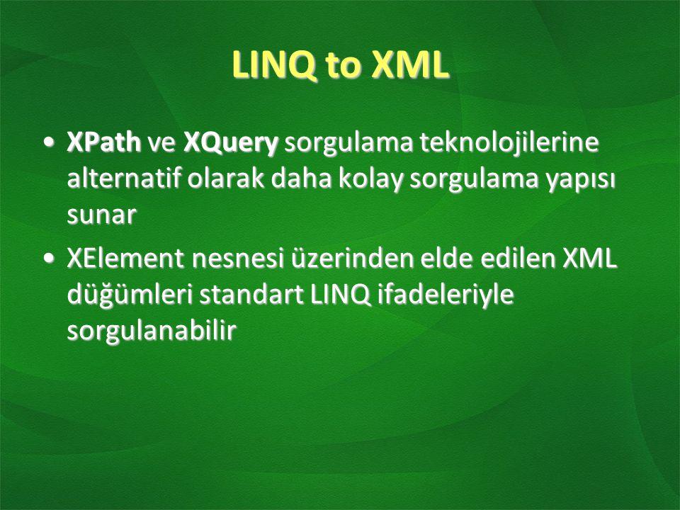 LINQ to XML XPath ve XQuery sorgulama teknolojilerine alternatif olarak daha kolay sorgulama yapısı sunar.