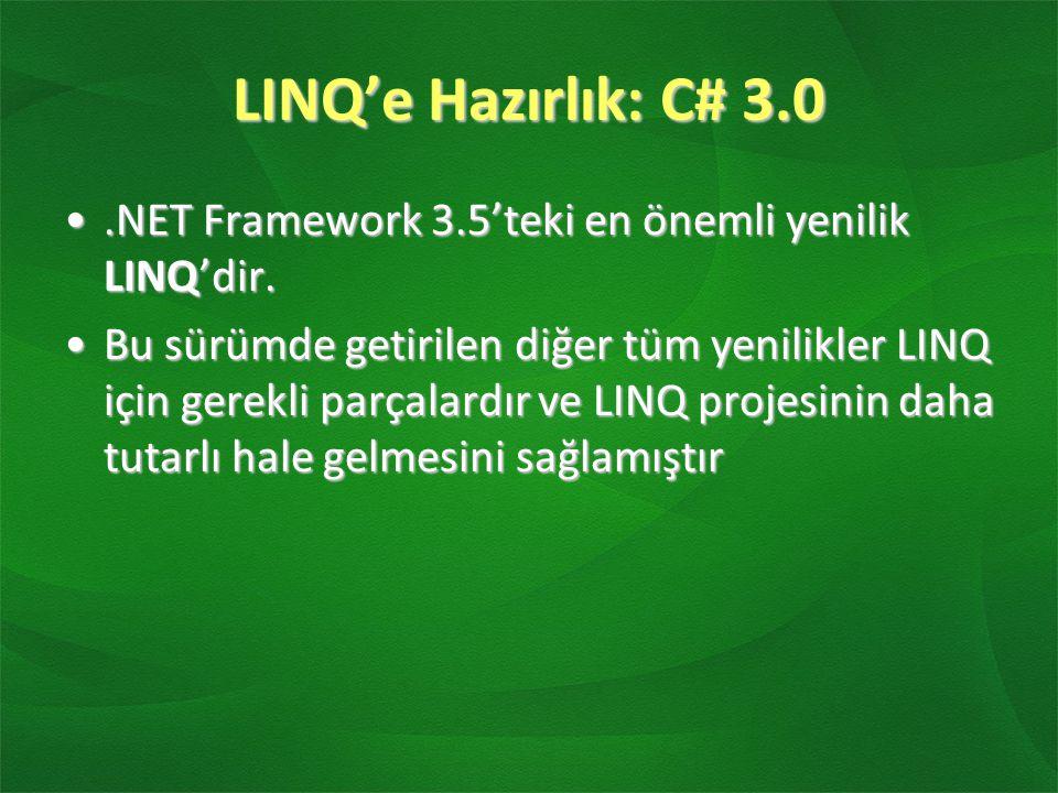 LINQ'e Hazırlık: C# 3.0 .NET Framework 3.5'teki en önemli yenilik LINQ'dir.