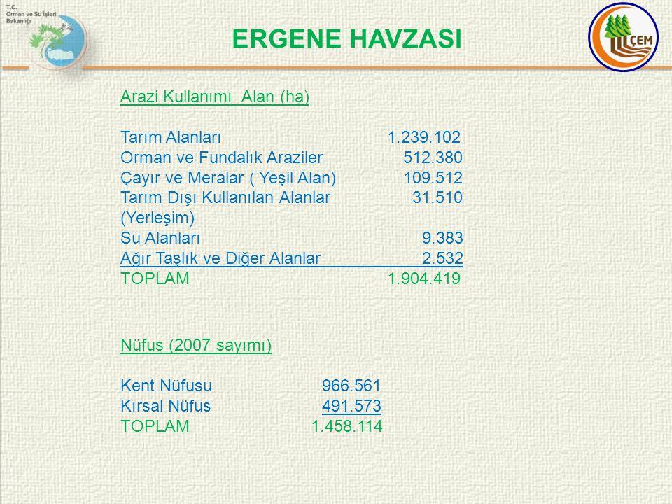 ERGENE HAVZASI Arazi Kullanımı Alan (ha) Tarım Alanları 1.239.102