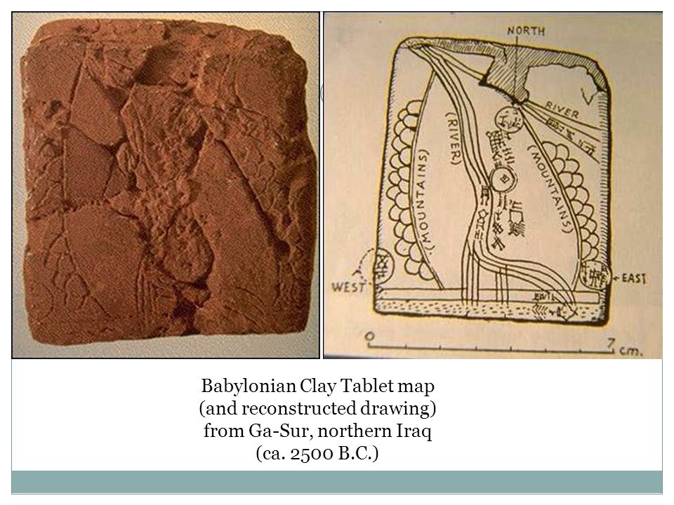 Babylonian Clay Tablet map (and reconstructed drawing)