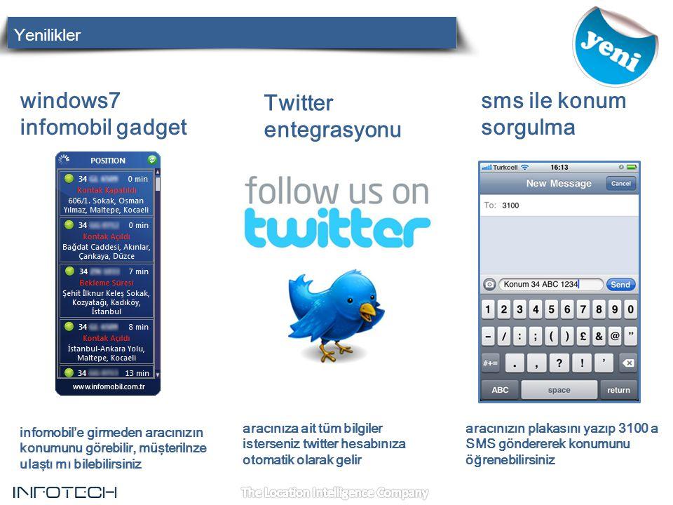 windows7 infomobil gadget Twitter entegrasyonu sms ile konum sorgulma