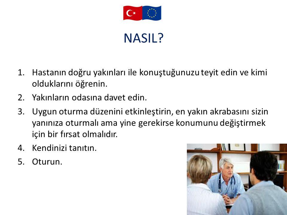 NASIL Hastanın doğru yakınları ile konuştuğunuzu teyit edin ve kimi olduklarını öğrenin. Yakınların odasına davet edin.