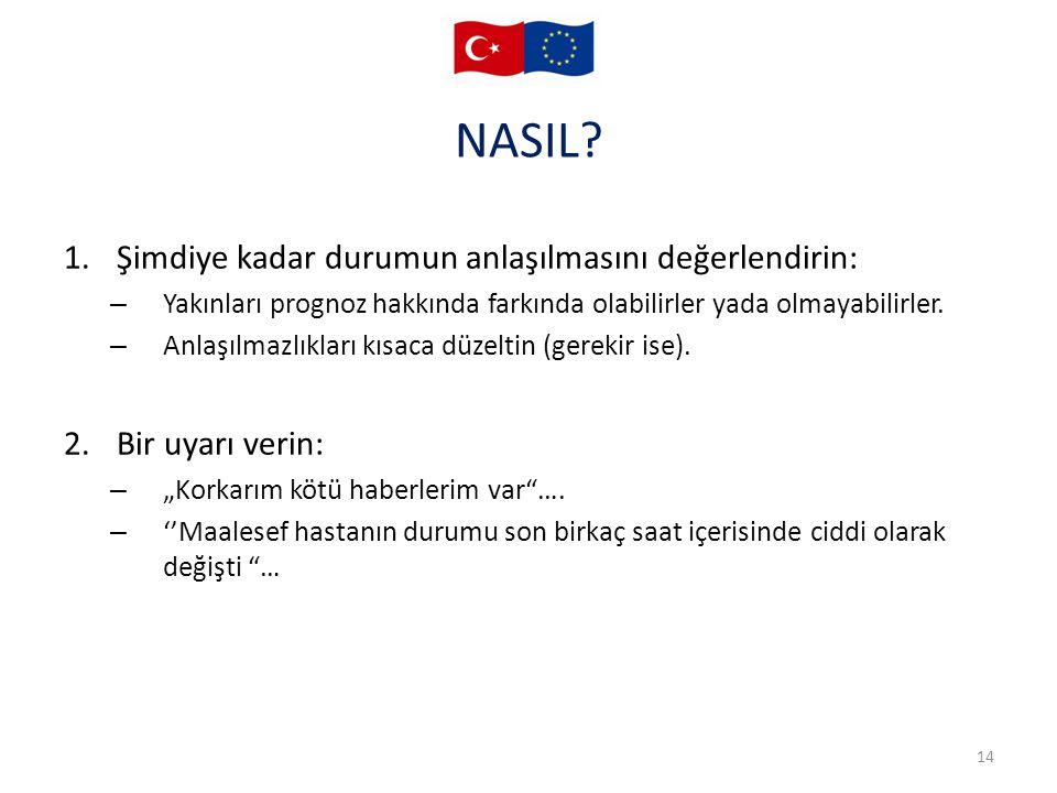 NASIL Şimdiye kadar durumun anlaşılmasını değerlendirin: