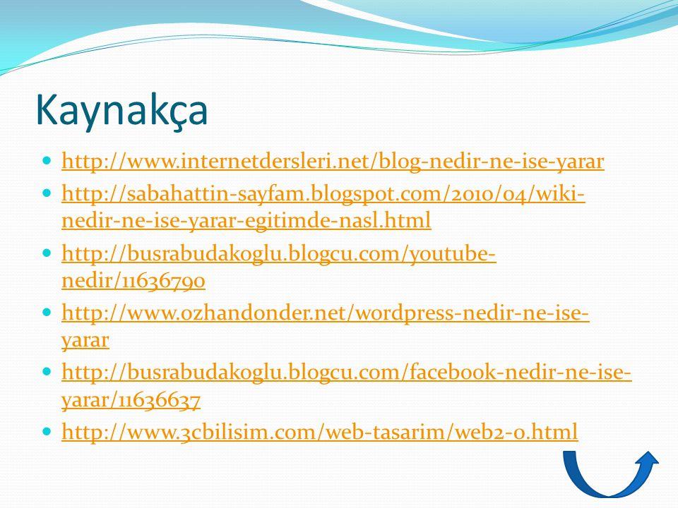 Kaynakça http://www.internetdersleri.net/blog-nedir-ne-ise-yarar