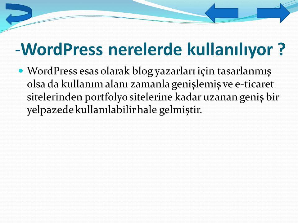 -WordPress nerelerde kullanılıyor