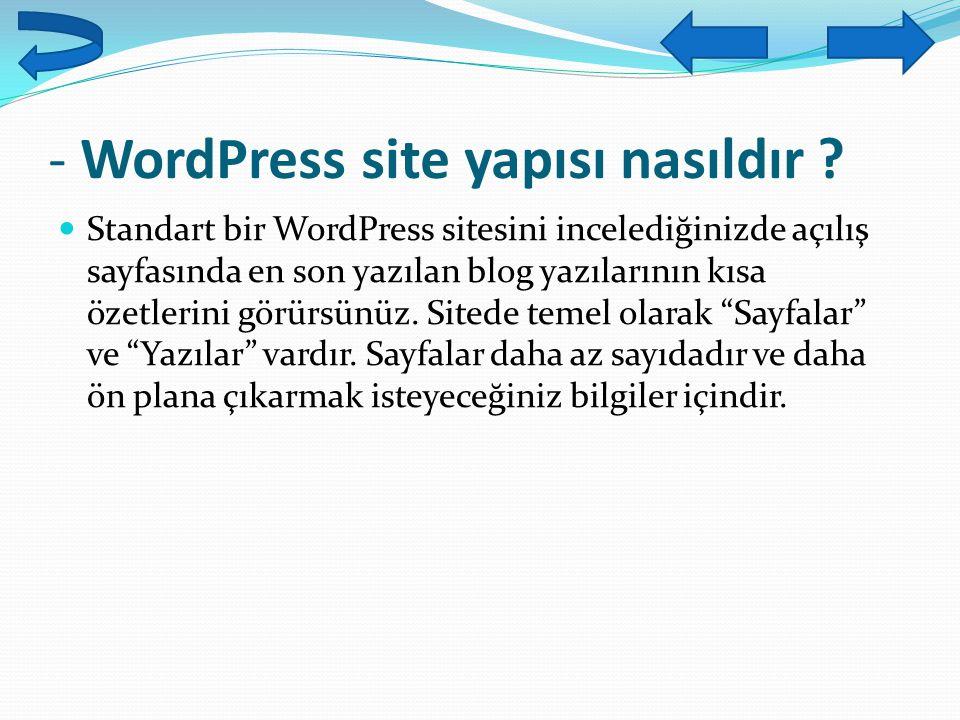 - WordPress site yapısı nasıldır