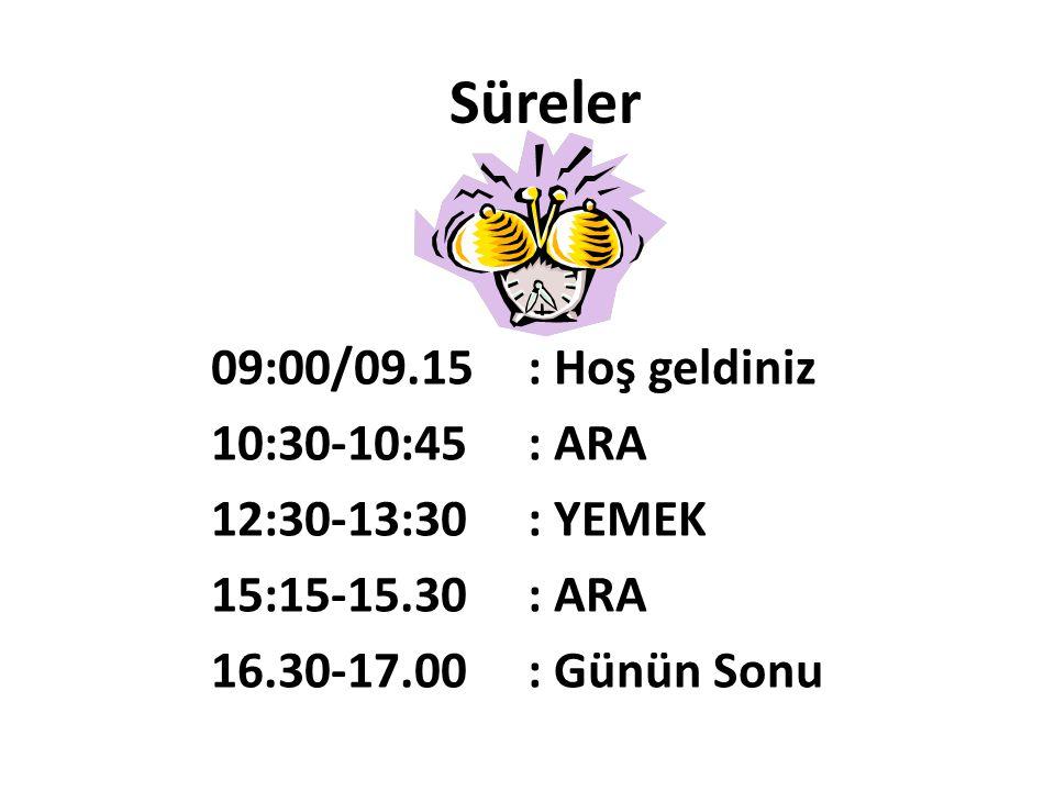 Süreler 09:00/09.15 : Hoş geldiniz 10:30-10:45 : ARA