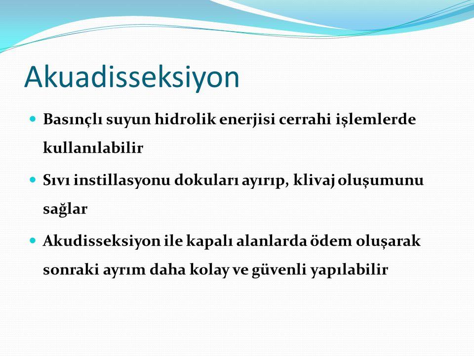 Akuadisseksiyon Basınçlı suyun hidrolik enerjisi cerrahi işlemlerde kullanılabilir. Sıvı instillasyonu dokuları ayırıp, klivaj oluşumunu sağlar.