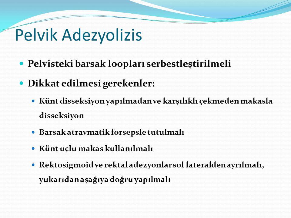 Pelvik Adezyolizis Pelvisteki barsak loopları serbestleştirilmeli