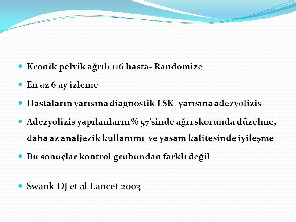 Swank DJ et al Lancet 2003 Kronik pelvik ağrılı 116 hasta- Randomize