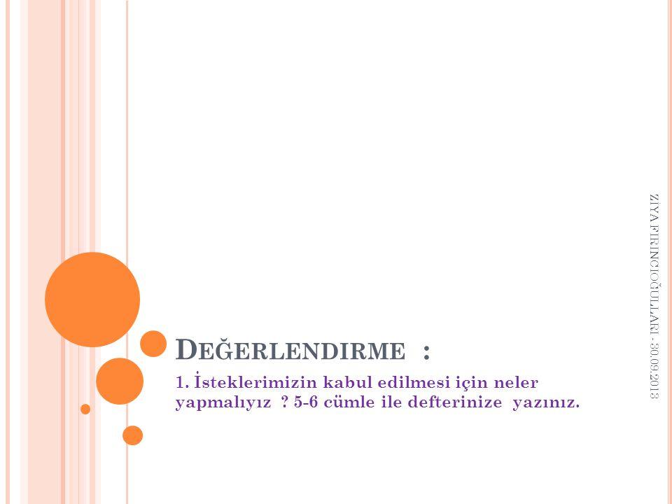 Değerlendirme : ZİYA FIRINCIOĞULLARI - 30.09.2013.