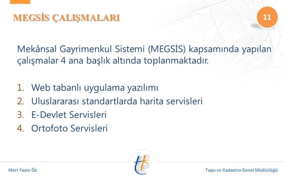 MEGSİS ÇALIŞMALARI Mekânsal Gayrimenkul Sistemi (MEGSİS) kapsamında yapılan çalışmalar 4 ana başlık altında toplanmaktadır.