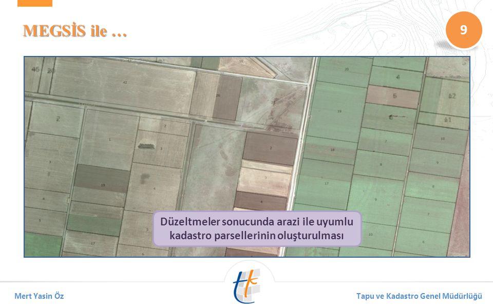 MEGSİS ile … Düzeltmeler sonucunda arazi ile uyumlu kadastro parsellerinin oluşturulması.