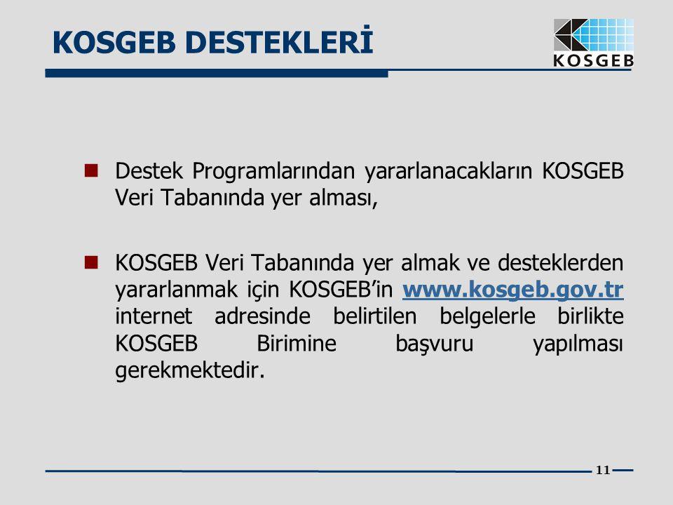 KOSGEB DESTEKLERİ Destek Programlarından yararlanacakların KOSGEB Veri Tabanında yer alması,